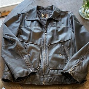 Men's large faux-leather guess jacket